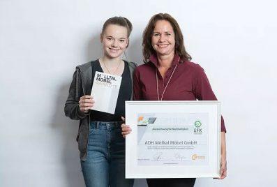 ADH Mölltal Möbel erhielten am 6. Mai die begehrte Auszeichnung für Nachhaltigkeit vom Energieform Kärnten.